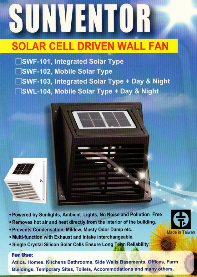Solatron Incorporated Solar Ventilator Roof Vent Wall Fan
